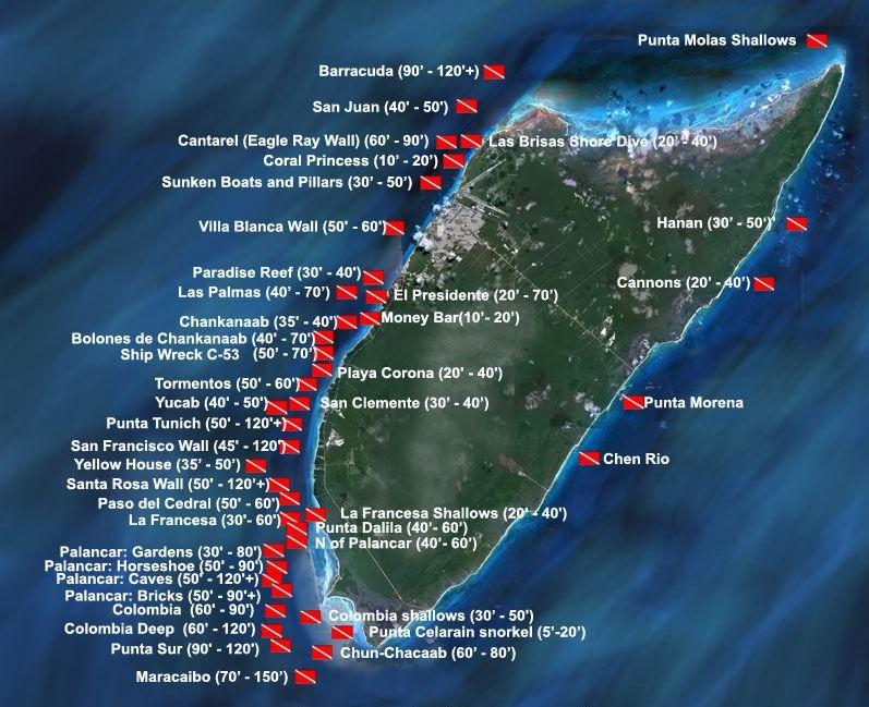 Cozumel Dive Map